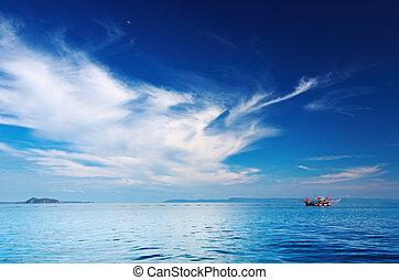 bote, pesca, seascape, tailandia