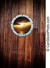 bote, porthole, vista oceano