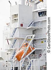 bote salvavidas, buquede carga, moderno