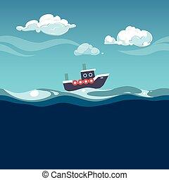 bote, vapor, illustration., mar, ondas