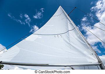 bote, vela, céu, contra, velejando