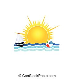 bote, vetorial, mar, ilustração, ícone