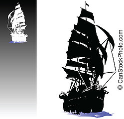 bote, vetorial, piratas, ilustração