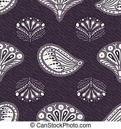 boteh, moderno, pattern., flor, estilizado, estilo, textured, vector, decor., encima, gente, hogar, floral, muestra, cachemira, étnico, buta, todos, hoja, arte, textile., moderno, fondo., print., indio, seamless, moda, motivo, hojas