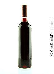 botella, aislado, vino rojo