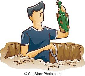 botella antigua, cavar, hombre
