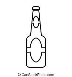 botella, cerveza, vector, contorno