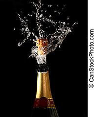 botella champaña, con, shotting, corcho
