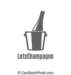 botella champaña, en, un, cubo hielo, icono, blanco, plano de fondo