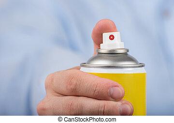 botella, cierre, amarillo, vista., rociar, arriba., frente, mano.