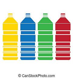 botella coloreada, conjunto, vector