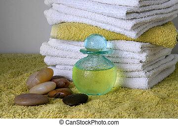 botella, con, aceite del masaje
