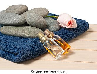 botella, con, aceite, y, aroma, masaje