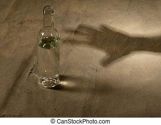 botella, con, alcohol