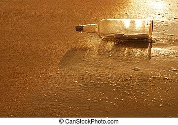 botella, con, mensaje