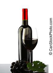 botella, con, vino rojo, y, vidrio