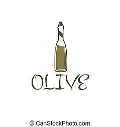 botella, de, aceite de oliva, vector, diseño, plantilla