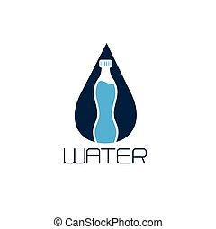 botella de agua, vector, diseño, concepto