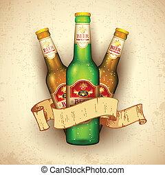 botella de cerveza, con, cinta