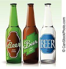 botella de cerveza, con, etiqueta