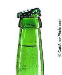botella de cerveza, cuello, con, abierto, gorra