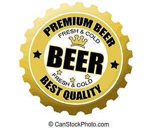 botella de cerveza, gorra, etiqueta