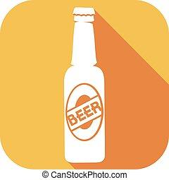 botella de cerveza, plano, icono