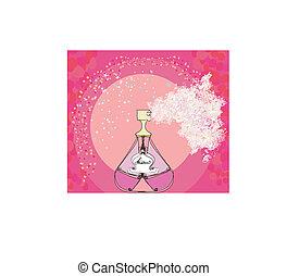 botella, de, perfume, con, un, floral, aroma