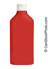 botella, de, salsade tomate, aislado, blanco, plano de fondo