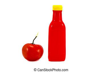 botella, de, salsade tomate, y, tomate, blanco, plano de fondo