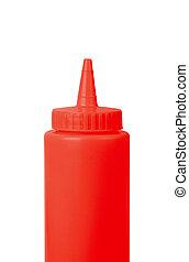 botella de tomate «ketchup», en, un, fondo blanco