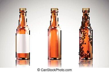 botella de vidrio, mockup, cerveza