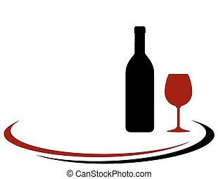botella de vidrio, plano de fondo, vino
