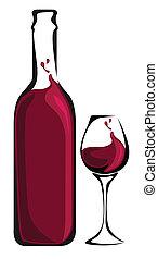botella de vidrio, vino
