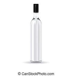 botella de vidrio, vodka, ruso