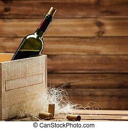 botella de vino, caja de madera, interior