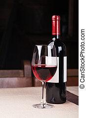 botella de vino, con, vidrio