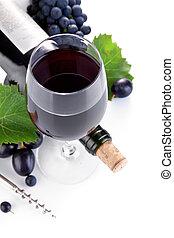 botella de vino, con, vidrio, y, uvas
