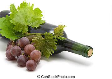 botella de vino, con, vino de uva, leafs, y, vid