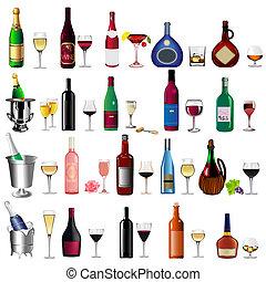 botella de vino, copa, conjunto, blanco