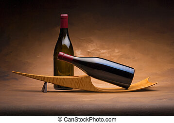 botella de vino, en, estante