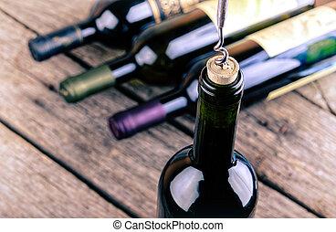 botella de vino, en, un, tabla de madera