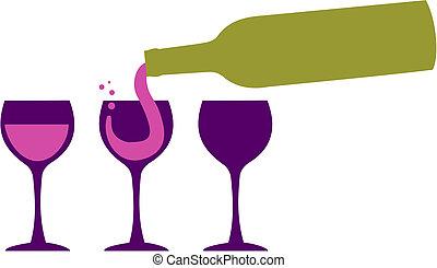 botella de vino, porción, copas