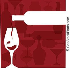 botella de vino, porción, un, vidrio, siluetas, en, púrpura