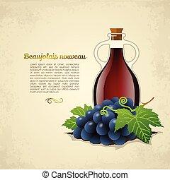botella de vino, uvas, racemation