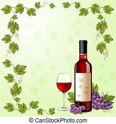 botella de vino, uvas, rojo