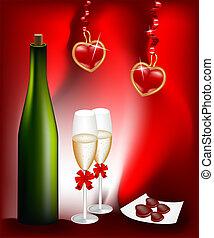 botella de vino, y, dos, anteojos