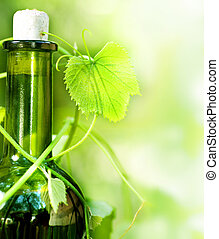 botella de vino, y, permisos de uva