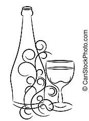 botella de vino, y, vidrio
