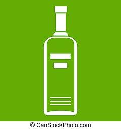 botella, de, vodka, icono, verde